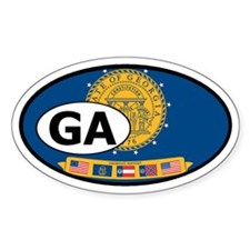 former Georgia State Flag Oval Decal