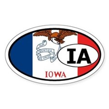 Iowa State Flag Oval Decal