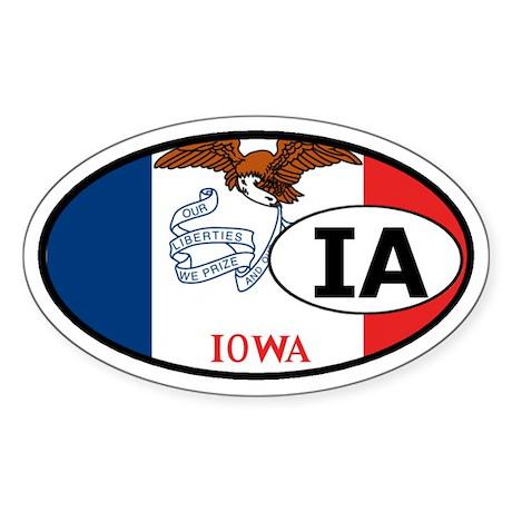Iowa State Flag Oval Sticker