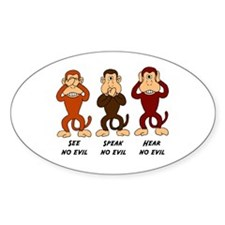 See Speak Hear No Evil Oval Decal
