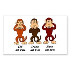 See Speak Hear No Evil Rectangle Decal