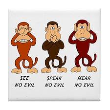 See Speak Hear No Evil Tile Coaster