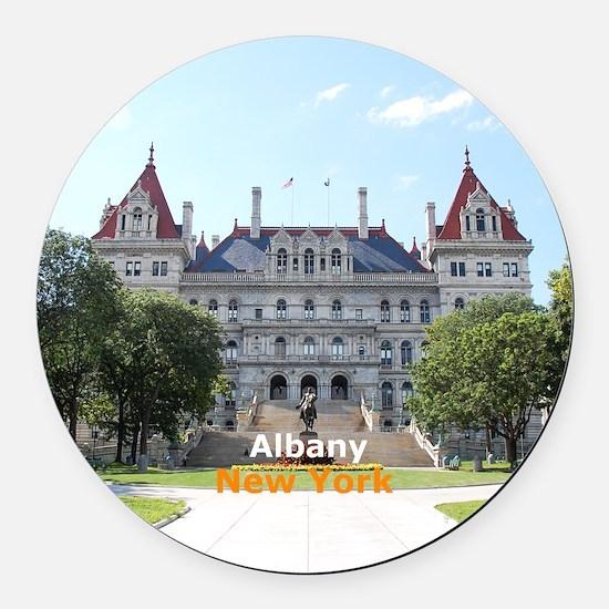 Albany New York Round Car Magnet