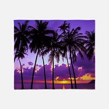Purple Tropical Sunset 3 Throw Blanket
