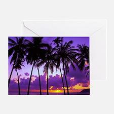 Purple Tropical Sunset 3 Greeting Card