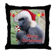 Helaine's Christmas Gorilla 2 Throw Pillow