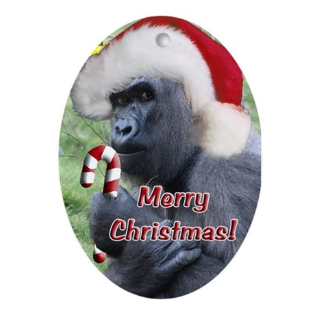 Helaine's Christmas Gorilla 2 Ornament (Oval)