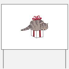 Cat In Present Yard Sign