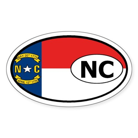 North Carolina State Flag Oval Sticker