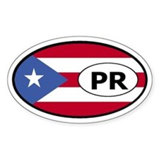 Puerto Rico Flag Oval Stickers