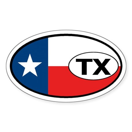 Texas State Flag Oval Sticker