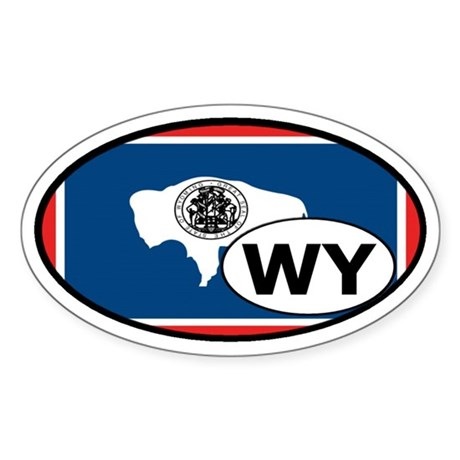 Wyoming State Flag Oval Sticker