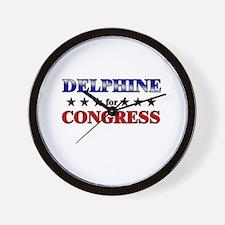 DELPHINE for congress Wall Clock