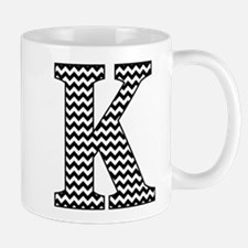 Black and White Chevron Letter K Monogram Mugs