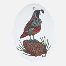 Quail and Pinecone Oval Ornament