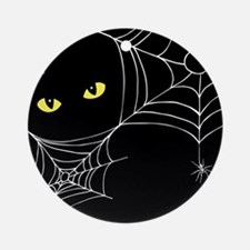 Spooky Cat Round Ornament