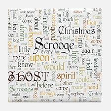 A Christmas Carol Word Cloud Tile Coaster