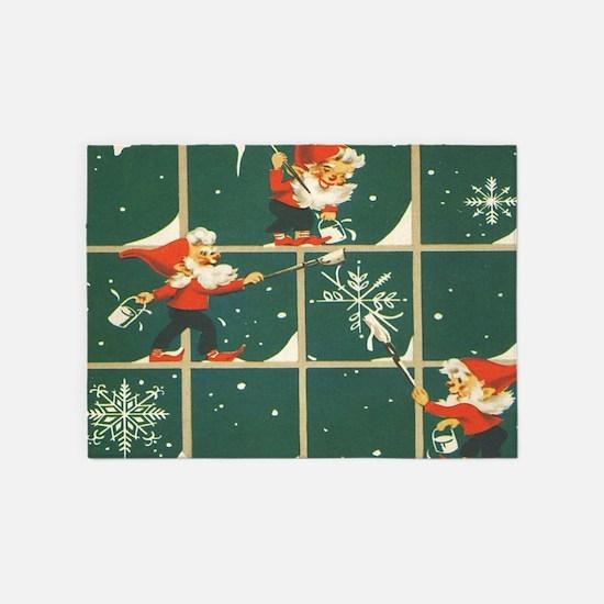Christmas snowflakes retro elves 5'x7'Area Rug