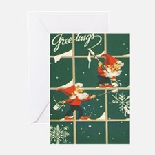 Christmas snowflakes retro elves Greeting Cards
