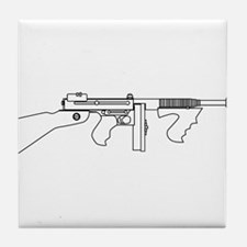 Gangster Tommy Gun Tile Coaster