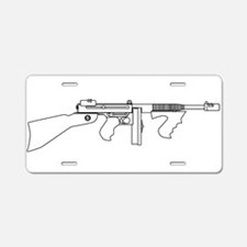 Gangster Tommy Gun Aluminum License Plate