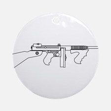 Gangster Tommy Gun Round Ornament