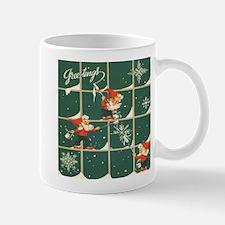 Christmas snowflakes retro elves Mugs