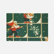 Christmas snowflakes retro elves Magnets