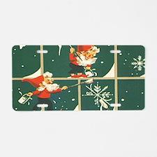 Christmas snowflakes retro Aluminum License Plate