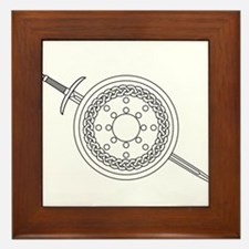 Claymore and Shield Outline Framed Tile