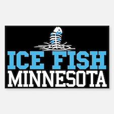 Ice Fish Minnesota Rectangle Decal