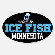 Ice Fish Minnesota Oval Decal