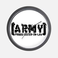 Proud Army Sis-n-Law - Tatterd Style Wall Clock
