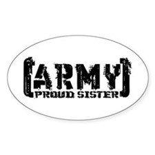 Proud Army Sis - Tatterd Style Oval Decal
