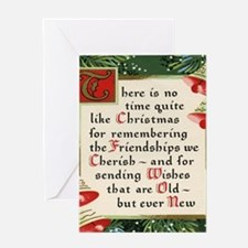 pine wreath christmas friendship Greeting Cards