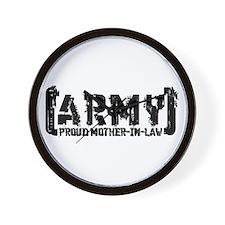 Proud Army Mthr-n-Law - Tatterd Style Wall Clock