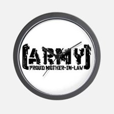 Proud Army Mthr-n-Law - Tatterd Style Wall Clock