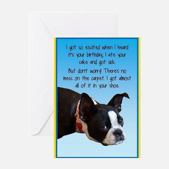 Boston Terrier Birthday Greeting Cards – Sick Birthday Cards