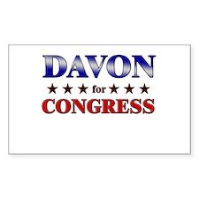 DAVON for congress Rectangle Decal