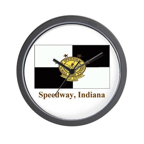Speedway IN Flag Wall Clock