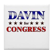 DAVIN for congress Tile Coaster