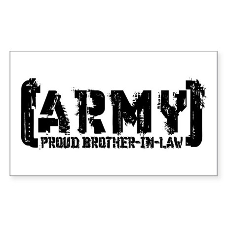 Proud Army Bro-n-Law - Tatterd Style Sticker (Rect