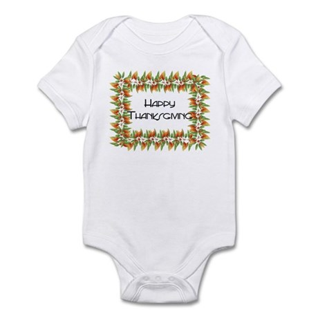Fall Leaves Border - Happy Th Infant Bodysuit