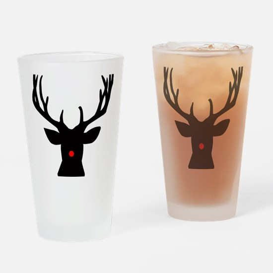 Cute Rudolph the red nose reindeer Drinking Glass