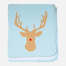 Gold Christmas reindeer with a red no baby blanket
