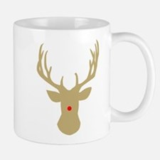 Gold Christmas reindeer with a red nose Mugs