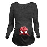 Spiderman Dark Long Sleeve Maternity T-Shirt