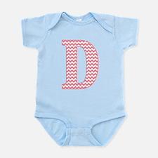 Pink Chevron Letter D Monogram Body Suit