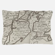 Vintage Staten Island & NYC Harbor Map Pillow Case