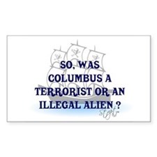 Columbus Question T-Shirts an Sticker (Rectangular